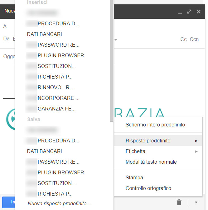 Gmail Labs menu risposte predefinite