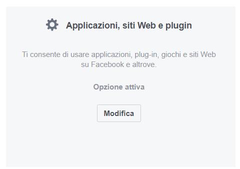 Applicazioni Siti web e plugin impostazioni Facebook