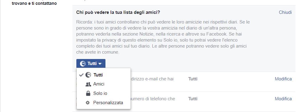 Facebook impostazioni della visibilita della lista amici