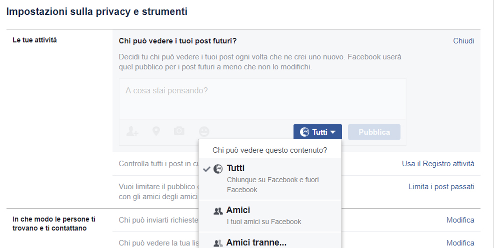 Facebook come limitare la visibilità di post e immagini