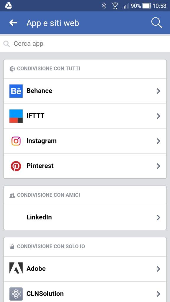 Facebook impostazioni privacy app da mobile