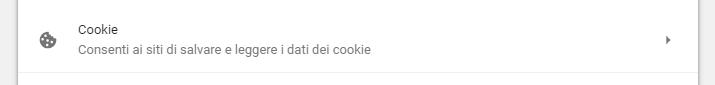impostazioni cookie chrome