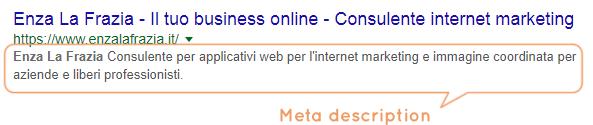 Meta description visualizzazione su Google