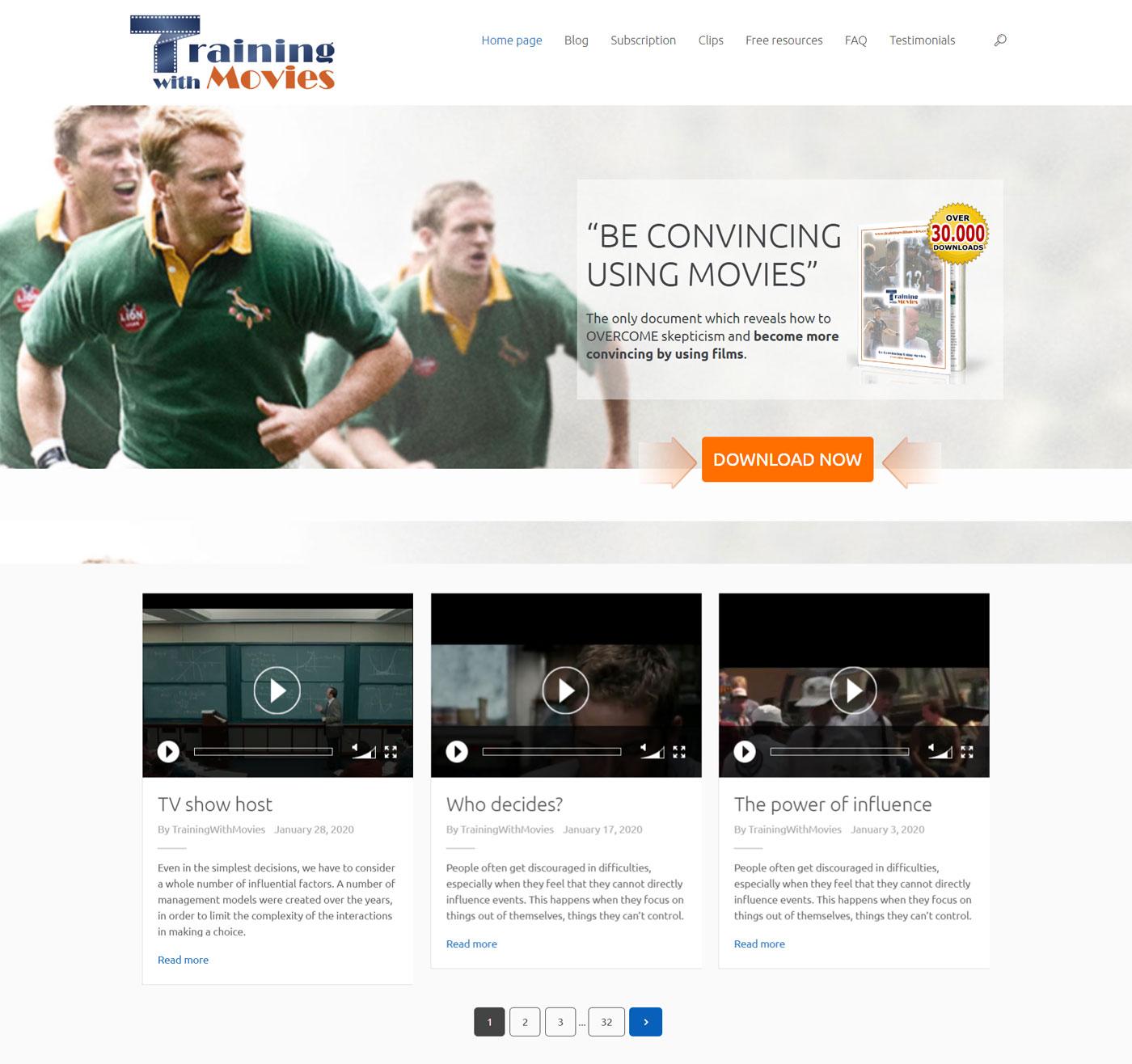 trainingwithmovies progettazione sito web membership