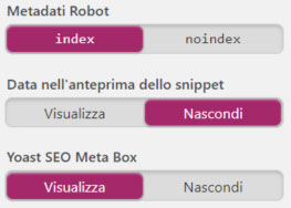 impostazioni metadati index YOAST SEO per WordPress