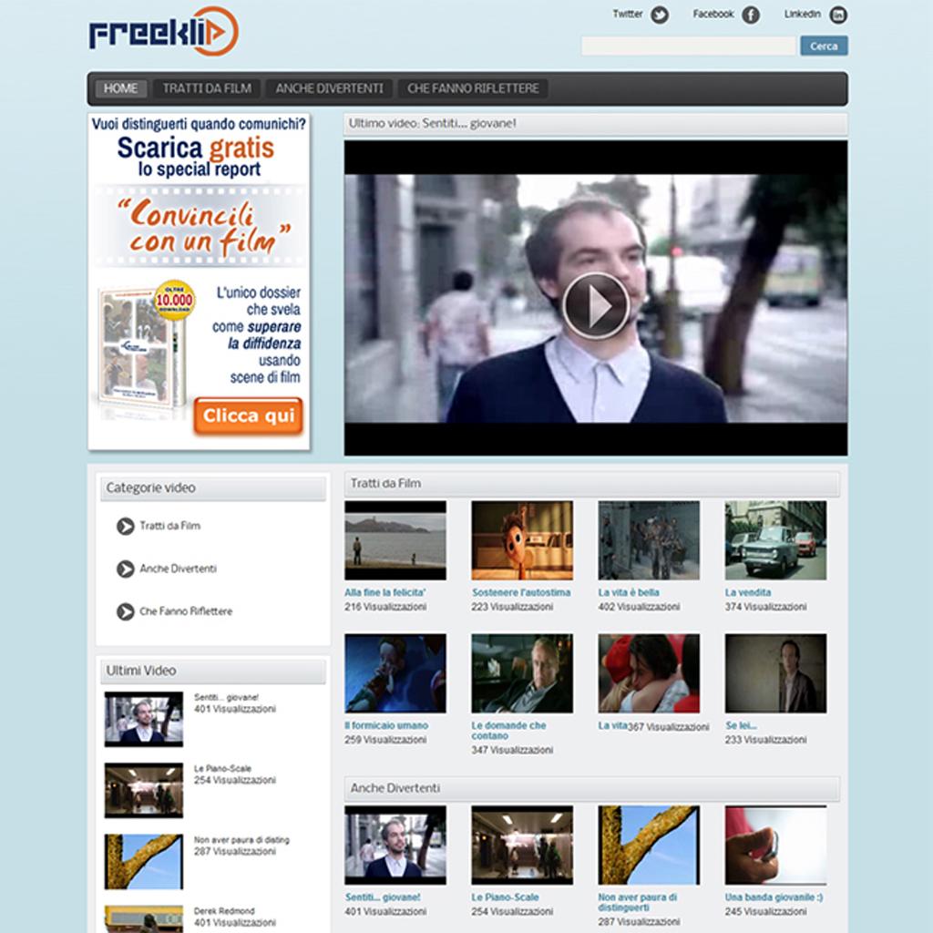 Freeklip progettazione sito web video