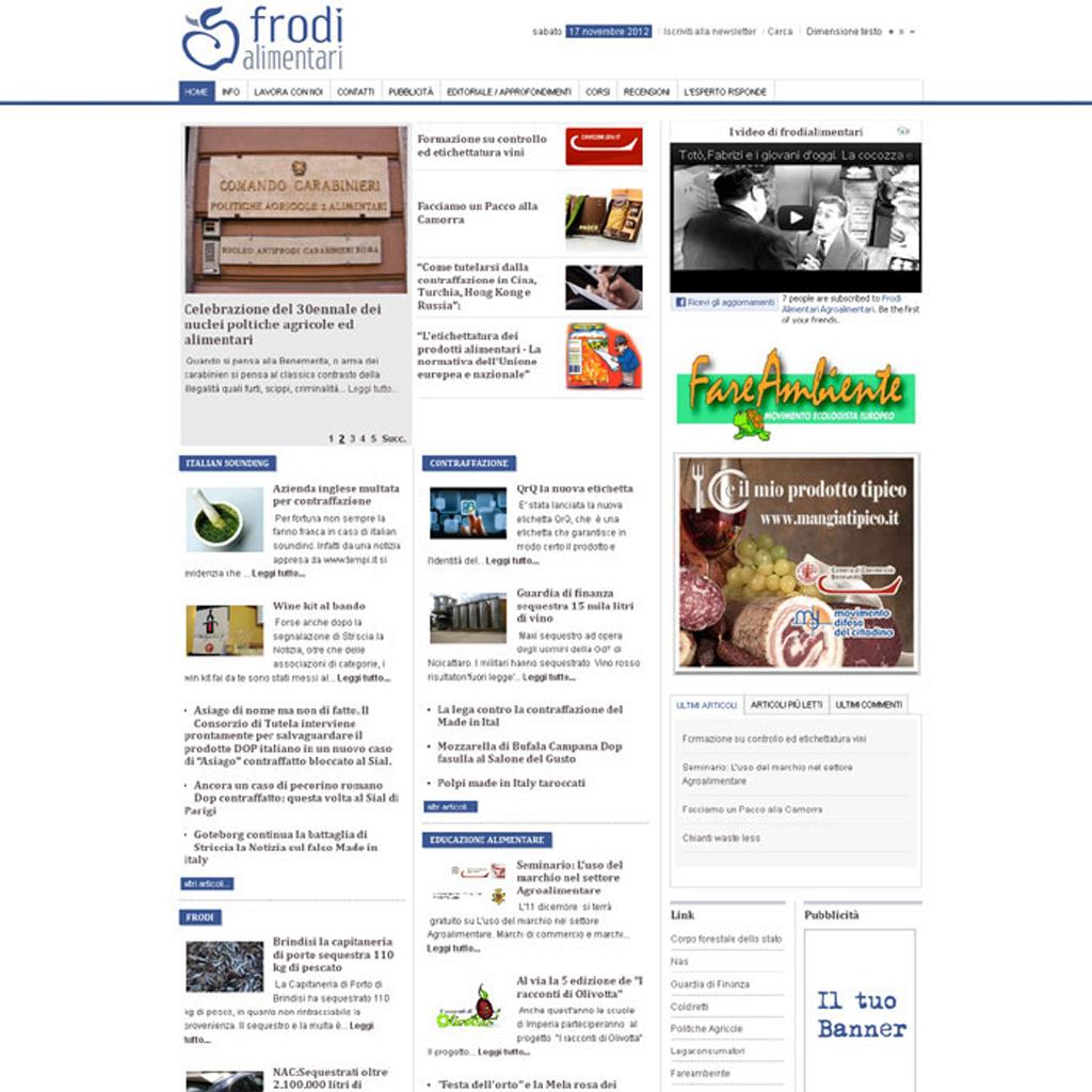 Frodi Alimentari progettazione sito web