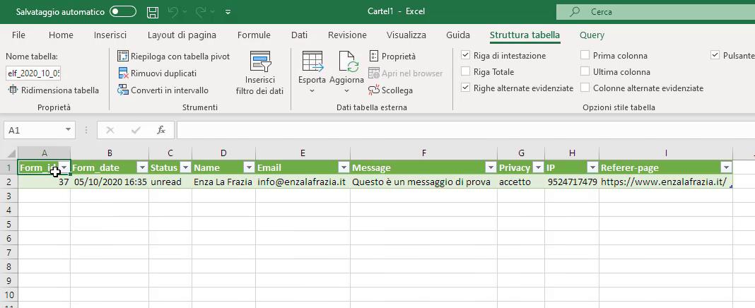 Dati importati CSV Excel
