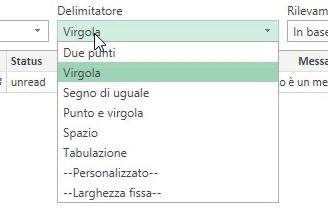 Importare CSV Excel delimitatore