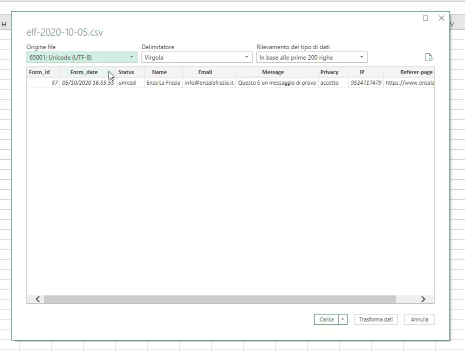 Tabella importata file CSV
