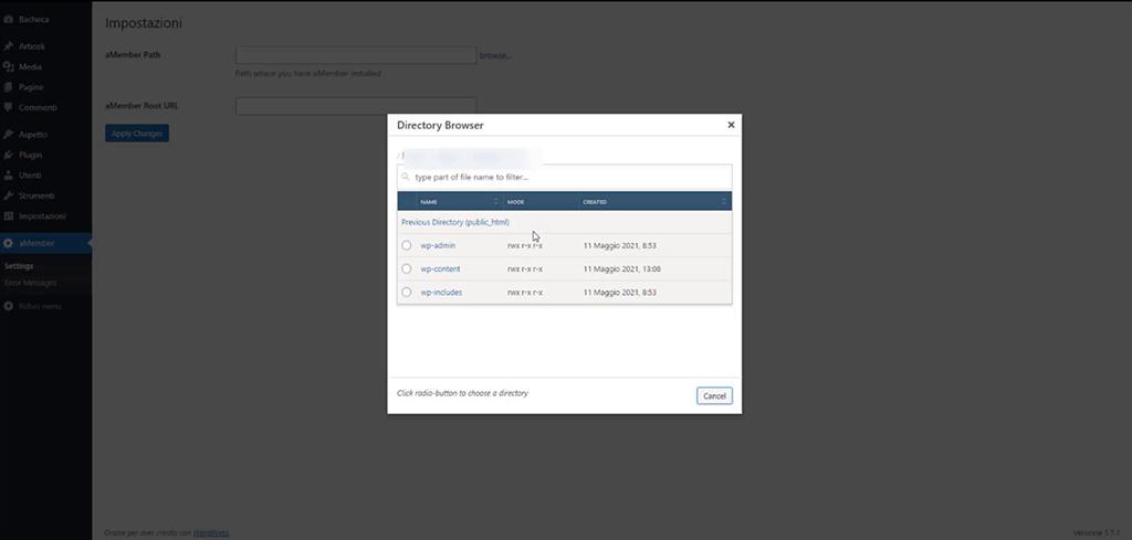 Configurazione plugin aMember su WordPress