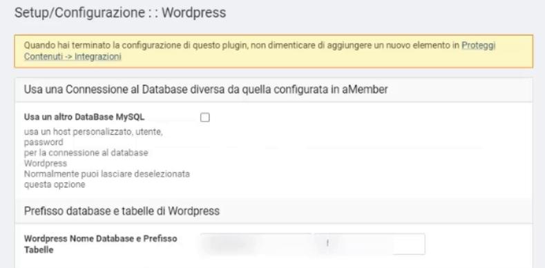 Configurazione plugin WordPress su aMember