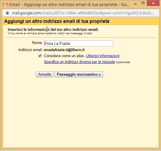 Gmail imposta nome posta in uscita